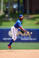 St. Lucie Mets shortstop Amed Rosario (1) flips the ball to second after making a play during a game against the Brevard County Manatees on April 17, 2016 at Tradition Field in Port St. Lucie, Florida.  Brevard County defeated St. Lucie 13-0.  (Mike Janes/Four Seam Images)