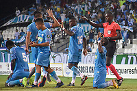 MONTERIA - COLOMBIA, 01-05-2019: Pablo Rojas (#7) de Jaguares celebra con sus compañeros después de anotar el primer gol de su equipo durante el partido por la fecha 19 de la Liga Águila I 2019 entre Jaguares de Córdoba F.C. y La Equidad jugado en el estadio Jaraguay de la ciudad de Montería. / Pablo Rojas (#7) of Jaguares de Cordoba F.C. celebrates with his teammates after scoring the first goal of his team during match for the date 19 as part Aguila League I 2019 between Jaguares de Cordoba F.C. and La Equidad played at Jaraguay stadium in Monteria city city. Photo: VizzorImage / Andres Felipe Lopez / Cont