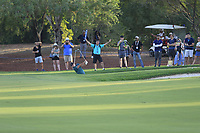 Patrick Reed (USA) in the 18th bunker during the 1st round of the DP World Tour Championship, Jumeirah Golf Estates, Dubai, United Arab Emirates. 15/11/2018<br /> Picture: Golffile | Fran Caffrey<br /> <br /> <br /> All photo usage must carry mandatory copyright credit (&copy; Golffile | Fran Caffrey)