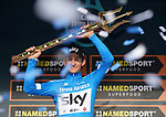Race leader Michal Kwiatkowski (POL) Team Sky overall winner after Stage 7 of the 53rd edition of the Tirreno-Adriatico 2018 a 10km individual time trial around San Benedetto del Tronto, Italy. 13th March 2018.<br /> Picture: LaPresse/Spada | Cyclefile<br /> <br /> <br /> All photos usage must carry mandatory copyright credit (&copy; Cyclefile | LaPresse/Spada)