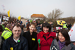 Protesters at a march against the building of  Hinkley C power station, Somerset  and the UK government's choice of Nuclear power as the mainstay of England's power supply.