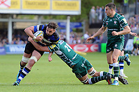 Elliott Stooke of Bath Rugby takes on the London Irish defence. Aviva Premiership match, between Bath Rugby and London Irish on May 5, 2018 at the Recreation Ground in Bath, England. Photo by: Patrick Khachfe / Onside Images