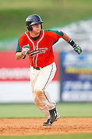 Jacob Realmuto #11 of the Greensboro Grasshoppers hustles towards third base against the Kannapolis Intimidators at Fieldcrest Cannon Stadium on June 19, 2011 in Kannapolis, North Carolina.  The Intimidators defeated the Grasshoppers 9-7.   (Brian Westerholt / Four Seam Images)