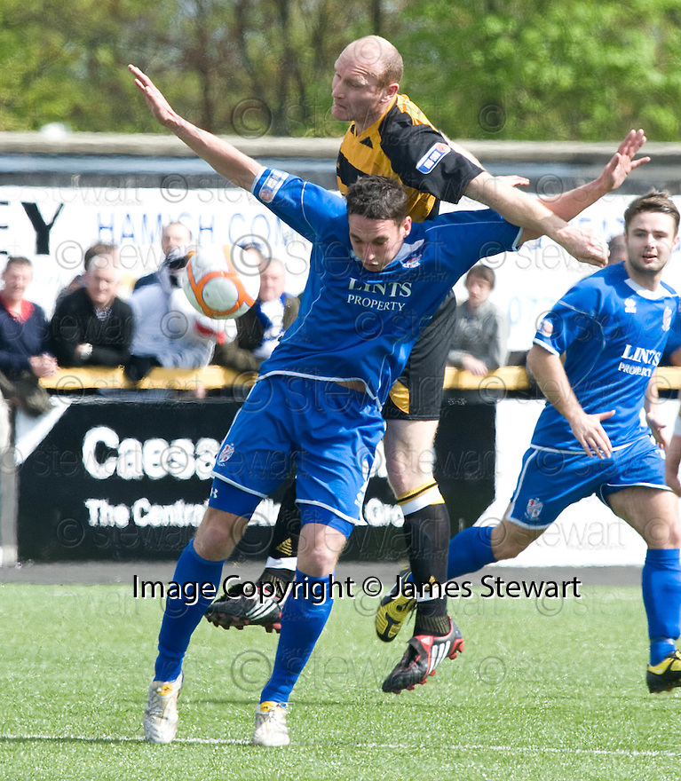 08/05/2010   Copyright  Pic : James Stewart.sct_js001_alloa_v_cowdenbeath  .::  SCOTT WALKER GETS ABOVE GARETH WARDLAW   ::  .James Stewart Photography 19 Carronlea Drive, Falkirk. FK2 8DN      Vat Reg No. 607 6932 25.Telephone      : +44 (0)1324 570291 .Mobile              : +44 (0)7721 416997.E-mail  :  jim@jspa.co.uk.If you require further information then contact Jim Stewart on any of the numbers above.........
