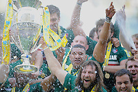 Martin Castrogiovanni of Leicester Tigers holds the trophy aloft after winning the Aviva Premiership Final between Leicester Tigers and Northampton Saints at Twickenham Stadium on Saturday 25th May 2013 (Photo by Rob Munro)