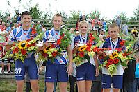FIERLJEPPEN: WINSUM: Accommodatie 'St. Japik', St. Fierljep-akkommodaasje Winsum, 11-08-2012, Fries kampioenschap, Friese kampioenen 2012, Bart Helmholt (#97), Hans Ulco de Boer (#214), Hilianne van der Wal (#100), Tom Hoekstra (#115), ©foto Martin de Jong