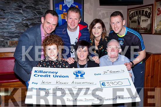 Presenting the proceeds of the Kilmanjaro climb to the Irish Kidney Association in the Corner bar on Saturday night front row l-r:  Joanne Sheehan, Theresa Looney and Connie Brosnan. Back row: Pat Sheehan, Niall Dennehy, Siobhain Coakley and Shane Dennehy