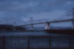San Francisco - Oakland Bay Bridge as viewed from the Embarcadero. Moonlight rendition.