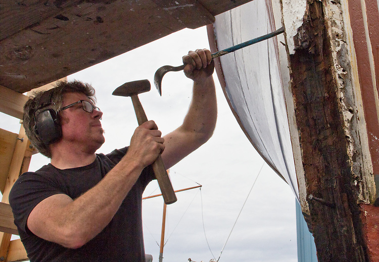 Port Townsend, Boat Haven, shipwright, Blaize Holly, fishing vessel gets a new stem, boatyards, Jefferson County, Olympic Peninsula, Puget Sound, Washington State, Pacific Northwest, USA,