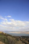 Israel, Lower Galilee. A view of the Sea of Galilee from Mount Poriya