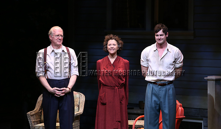 """Tracy Letts, Annette Bening and Benjamin Walker during the Broadway Opening Night Curtain Call for """"All My Sons"""" at The American Airlines Theatre on April 22, 2019  in New York City."""