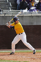 East Carolina University Pirates catcher Zach Wright #20 at bat during a game against the Stony Brook Seawolves at Clark-LeClair Stadium on March 4, 2012 in Greenville, NC.  East Carolina defeated Stony Brook 4-3. (Robert Gurganus/Four Seam Images)