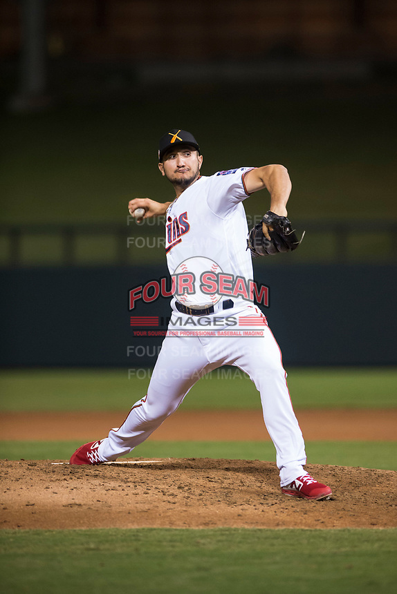 Salt River Rafters relief pitcher Hector Lujan (35), of the Minnesota Twins organization, delivers a pitch during an Arizona Fall League game against the Scottsdale Scorpions at Salt River Fields at Talking Stick on October 11, 2018 in Scottsdale, Arizona. Salt River defeated Scottsdale 7-6. (Zachary Lucy/Four Seam Images)