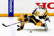 June 5th 2017, Nashiville, TN, USA;  Pittsburgh Penguins defenseman Brian Dumoulin (8) checks Nashville Predators right wing Viktor Arvidsson (38) during game 4 of the 2017 NHL Stanley Cup Finals between the Pittsburgh Penguins and Nashville Predators