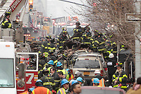 NEW YORK - FOR NEWS:  Building explosion, East 116th Street, between Madison and Park Aves, Harlem, NY Wednesday, March 12, 2014.  <br /> <br /> PICTURED:   Scene of building explosion.<br /> <br /> (Angel Chevrestt, 646.314.3206)