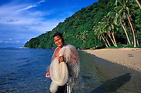 Young fisherman with nets in Vatia, Tutuila, American Samoa