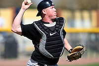 March 13, 2010:  Catcher Cody Shorter of Army vs. Long Island University Blackbirds in a game at Henley Field in Lakeland, FL.  Photo By Mike Janes/Four Seam Images