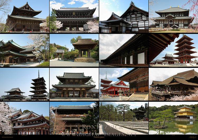 Temples of Japan - Toji Kondo, Chion-in Sanmon, Tenryuji Kuri, Todaiji Daibutsuden, Kenchoji Butsuden and Hatto, Kenchoji Bonsho, Sanjusangendo, Shitennoji Kondo and Gojunoto, Horyuji Kondo and Gojunoto, Horyuji Chumon, Kiyomizudera Sanjunoto, Kyozo and Tamurado, Kiyomizudera Hondo, Hasedera Kannon-do, Nanzenji Sanmon, Ginkakuji Ginshadan, Kinkakuji