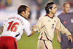 14 November 2008: Boston College's Mor Avi Hanan (10) and Maryland's Michael Marchiano (16). The University of Maryland defeated Boston College 1-0 at WakeMed Stadium at WakeMed Soccer Park in Cary, NC in a men's ACC tournament semifinal game.