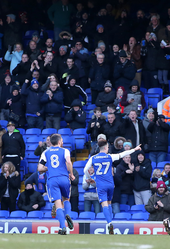 Ipswich Town's Tom Lawrence celebrates scoring his sides first goal<br /> <br /> Photographer David Shipman/CameraSport<br /> <br /> The EFL Sky Bet Championship - Ipswich Town v Blackburn Rovers - Saturday 14th January 2017 - Portman Road - Ipswich<br /> <br /> World Copyright &copy; 2017 CameraSport. All rights reserved. 43 Linden Ave. Countesthorpe. Leicester. England. LE8 5PG - Tel: +44 (0) 116 277 4147 - admin@camerasport.com - www.camerasport.com
