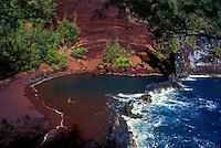 Kaihalulu Bay, Hana, Maui also known as Red Sand Beach.
