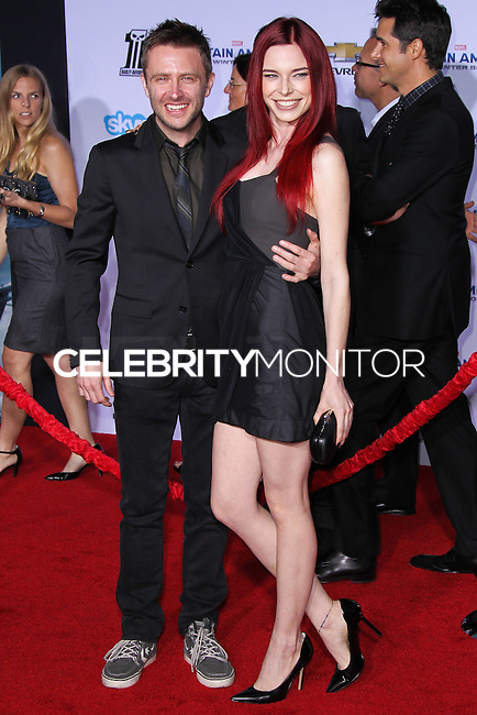 "HOLLYWOOD, LOS ANGELES, CA, USA - MARCH 13: Chris Hardwick, Chloe Dykstra at the World Premiere Of Marvel's ""Captain America: The Winter Soldier"" held at the El Capitan Theatre on March 13, 2014 in Hollywood, Los Angeles, California, United States. (Photo by Xavier Collin/Celebrity Monitor)"