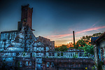 Derelict industrial building in Germany at sunset