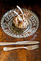 Roast lamb with mint sauce prepared by chef .Maddalena Caruso and served on a commemorative plate for the wedding of George VI and Elizabeth