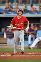 Palm Beach Cardinals right fielder Shane Billings (7) at bat during a game against the Charlotte Stone Crabs on April 21, 2018 at Charlotte Sports Park in Port Charlotte, Florida.  Charlotte defeated Palm Beach 5-2.  (Mike Janes/Four Seam Images)