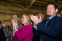 Pictured: Labour react during the Newport West by-election ballot count at the Geraint Thomas National Velodrome of Wales in Newport, South Wales, UK. Friday 05 April 2019<br /> Re: Voters in Newport West are going to the polls to elect a new member of Parliament.<br /> The seat in south east Wales became vacant following the death of Paul Flynn earlier in February.