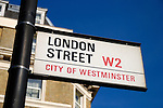 London Street W2 City of Westminster street sign, Paddington, London, England