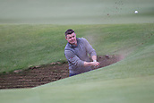 4th October 2017, The Old Course, St Andrews, Scotland; Alfred Dunhill Links Championship, practice round; Former Ireland rugby captain Brian O'Driscoll escapes from the Road Hole bunker on the 17th hole on the Old Course, St Andrews during a practice round before the Alfred Dunhill Links Championship