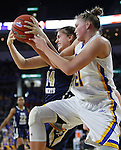 SIOUX FALLS, SD: MARCH 5: Montserrat Brotons #24 or Oral Roberts and Clarissa Ober #21 of South Dakota State battle for a rebound during the Summit League Basketball Championship on March 5, 2017 at the Denny Sanford Premier Center in Sioux Falls, SD. (Photo by Dick Carlson/Inertia)