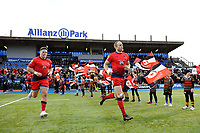 Ethan Waller and Chris Pennell of Worcester Warriors run onto the pitch. Aviva Premiership match, between Saracens and Worcester Warriors on December 30, 2017 at Allianz Park in London, England. Photo by: Patrick Khachfe / JMP