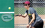 NAUGATUCK CT. 17 April 2019-041719SV10-Catarina Rego hitsa shot against Nhi Nguyen of Sacred Heart during tennis action in Naugatuck Wednesday.<br /> Steven Valenti Republican-American