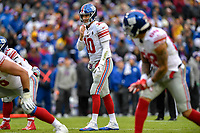 Landover, MD - December 9, 2018: New York Giants quarterback Eli Manning (10) before the snap during game between the New York Giants and Washington Redskins at FedEx Field in Landover, MD. The Giants defeated the Redskins 40-16 dropping the Redskins to 6-7 on the season. (Photo by Phillip Peters/Media Images International)