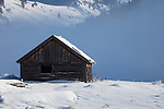 Idaho, south central, Custer County, Stanley, Lower Stanley. An iconic cabin along the Salmon River at Lower Stanley in winter with morning sun and fog.