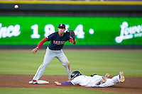 Salem Red Sox shortstop Mauricio Dubon (10) waits for a throw as Hunter Jones (29) of the Winston-Salem Dash slides head first into second base at BB&T Ballpark on April 15, 2016 in Winston-Salem, North Carolina.  The Red Sox defeated the Dash 3-2.  (Brian Westerholt/Four Seam Images)