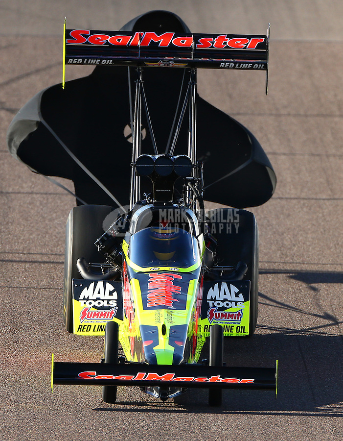 Feb 27, 2016; Chandler, AZ, USA; NHRA top fuel driver J.R. Todd during qualifying for the Carquest Nationals at Wild Horse Pass Motorsports Park. Mandatory Credit: Mark J. Rebilas-