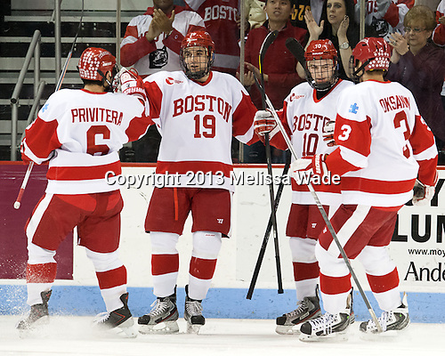 Alexx Privitera (BU - 6), Matt Nieto (BU - 19), Danny O'Regan (BU - 10), Ahti Oksanen (BU - 3) - The visiting Northeastern University Huskies defeated the Boston University Terriers 6-5 on Friday, January 18, 2013, at Agganis Arena in Boston, Massachusetts.