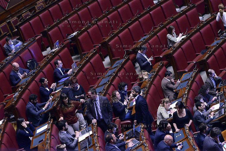 Roma, 30 Aprile 2015<br /> Gli scranni del Movimento 5 Stelle<br /> Votata le seconda fiducia alla Legge elettorale