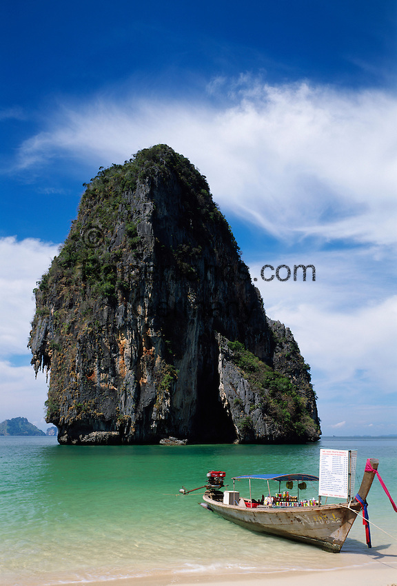 Tham Phra Nang Beach and Ko Rung Nok (Happy Island) rock, selling drinks by boat