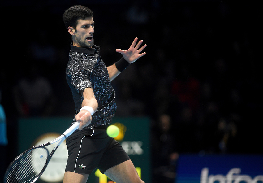 Novak Djokovic in action against Kevin Anderson in their semi final match <br /> <br /> Photographer Hannah Fountain/CameraSport<br /> <br /> International Tennis - Nitto ATP World Tour Finals Day 7 - O2 Arena - London - Saturday 17th November 2018<br /> <br /> World Copyright © 2018 CameraSport. All rights reserved. 43 Linden Ave. Countesthorpe. Leicester. England. LE8 5PG - Tel: +44 (0) 116 277 4147 - admin@camerasport.com - www.camerasport.com