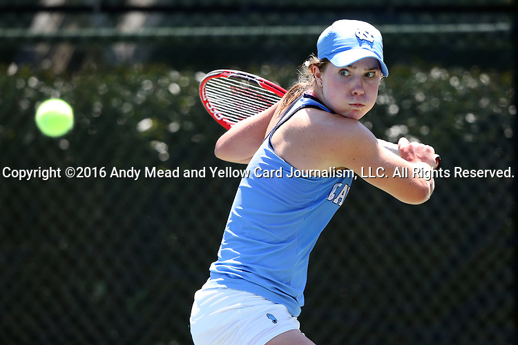 24 April 2016: UNC's Jessie Aney. The University of North Carolina Tar Heels played the University of Miami Hurricanes at the Cary Tennis Center in Cary, North Carolina in the Atlantic Coast Conference Women's Tennis Tournament Championship. North Carolina won the match 4-2.