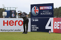 Tyrrell Hatton (ENG) on the 4th tee during Round 1 of the Betfred British Masters 2019 at Hillside Golf Club, Southport, Lancashire, England. 09/05/19<br /> <br /> Picture: Thos Caffrey / Golffile<br /> <br /> All photos usage must carry mandatory copyright credit (© Golffile | Thos Caffrey)