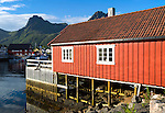 Traditional building style at Scandic Hotel, Svolvaer, Lofoten Islands, Nordland, Norway