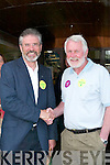 Gerry Adams Martin Ferris with Sinn Fein supporters during his walkabout in Castleisland on Friday..