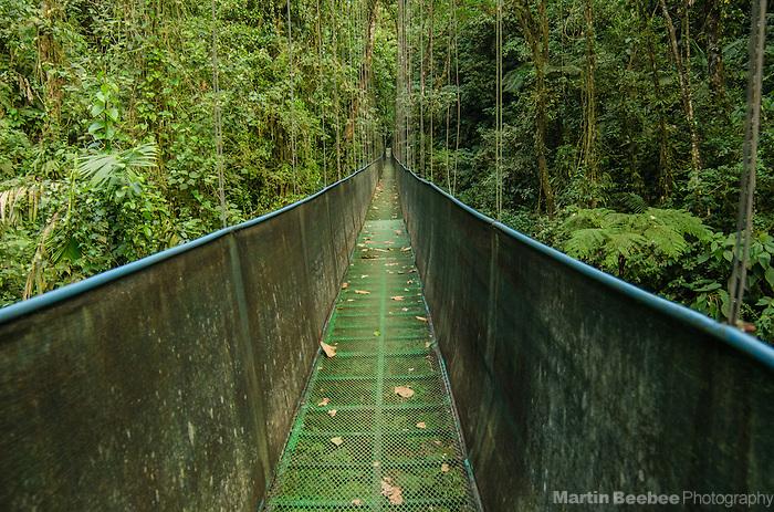 Hanging bridge cutting through the Sky Adventures rainforest in the Arenal area near El Castillo, Costa Rica