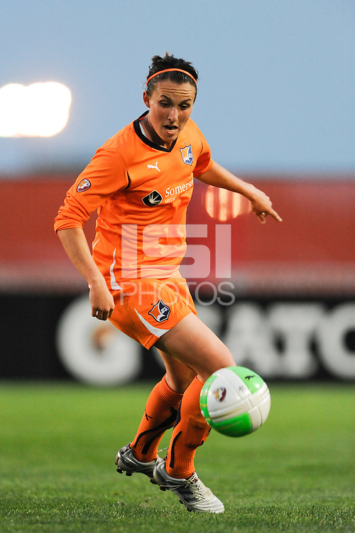 Meghan Schnur (7) of Sky Blue FC. Sky Blue FC defeated the Chicago Red Stars 1-0 in a Women's Professional Soccer (WPS) match at Yurcak Field in Piscataway, NJ, on April 11, 2010.