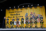 Direct Energie on stage at the Team Presentations for the 105th Tour de France 2018 held on Napoleon Square in La Roche-sur-Yon, France. 5th July 2018. <br /> Picture: ASO/Bruno Bade | Cyclefile<br /> All photos usage must carry mandatory copyright credit (&copy; Cyclefile | ASO/Bruno Bade)